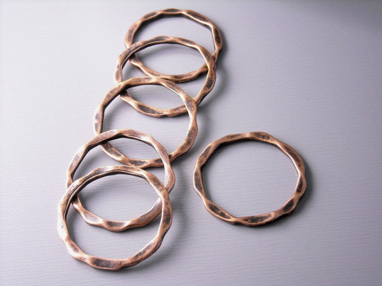 Antique Copper Hammered Circle Connectors - 6 pcs