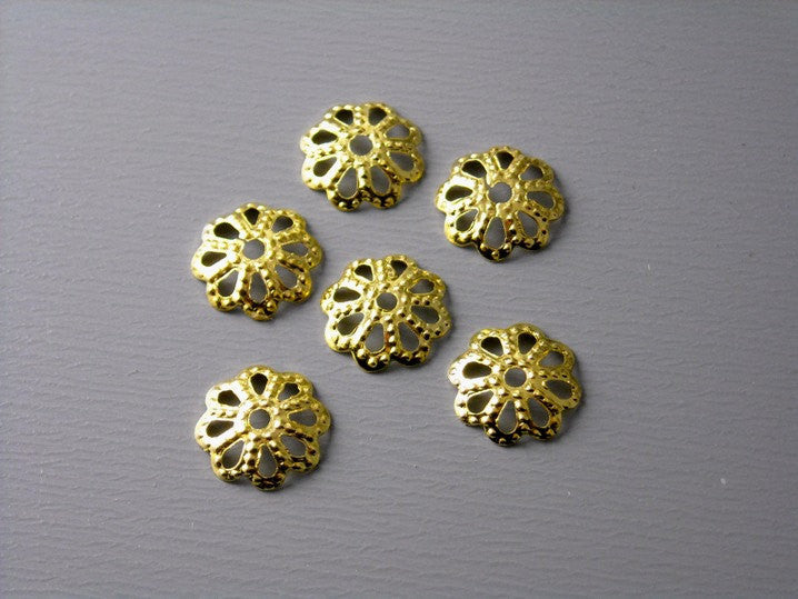 50 pcs 14k Gold Plated Filigree Bead Caps - 7mm - Pim's Jewelry Supplies