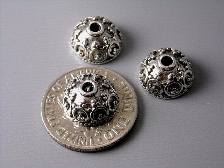 Silver Plated Dome Bead Caps (10mm) - 20 pcs - Pim's Jewelry Supplies