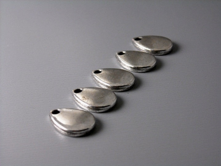 Antique Silver Rain Drop Charm - 10 pcs
