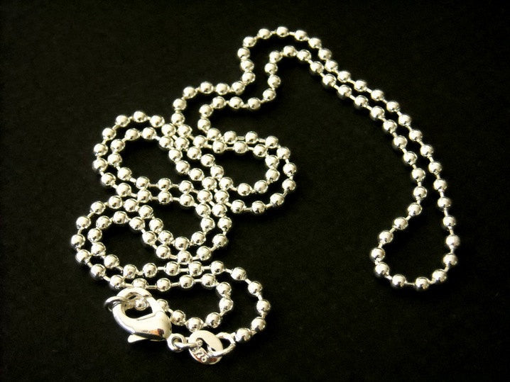 Ball Chain Necklace - Sterling Silver Plated - 1.5mm - 16 inches