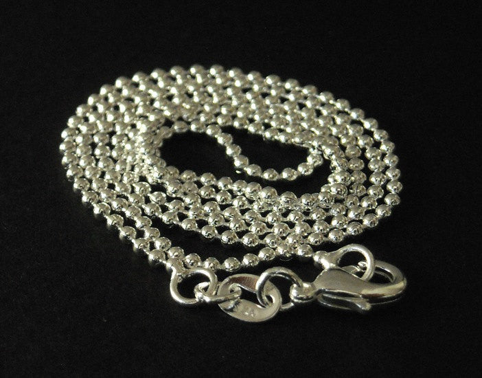 Ball Chain Necklace - Sterling Silver Plated - 2mm - 18 inches