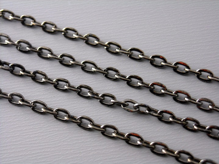 10-Feet Fine Gunmetal Plated Chain, 3mm x 2mm