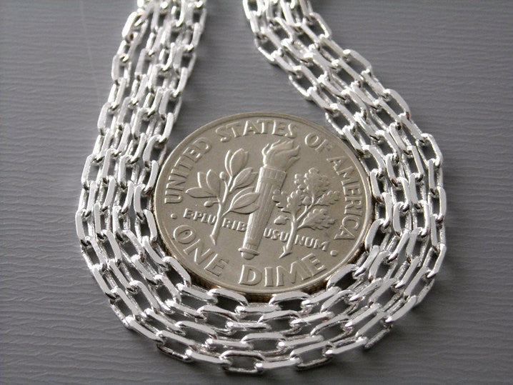 10-Feet of Silver Plated Cable Chain, 4x2mm - Pim's Jewelry Supplies
