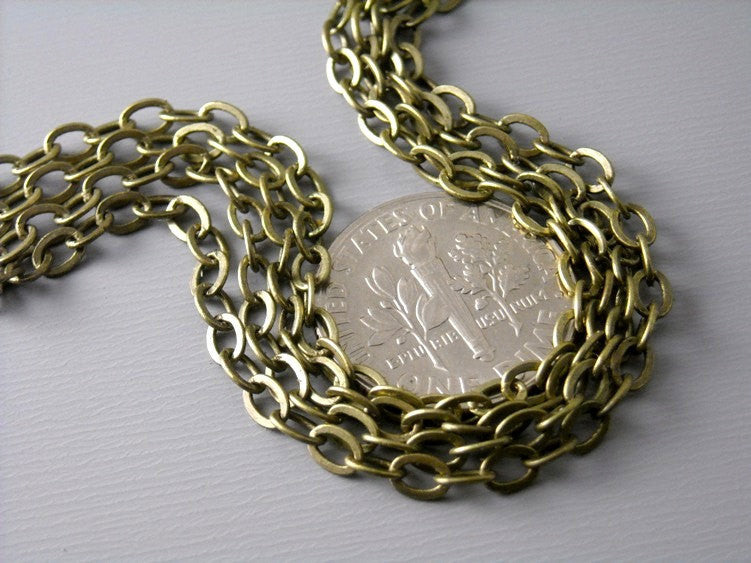 10-Feet Grade A 3.5mm x 2.5mm Antique Brass Cable Chain