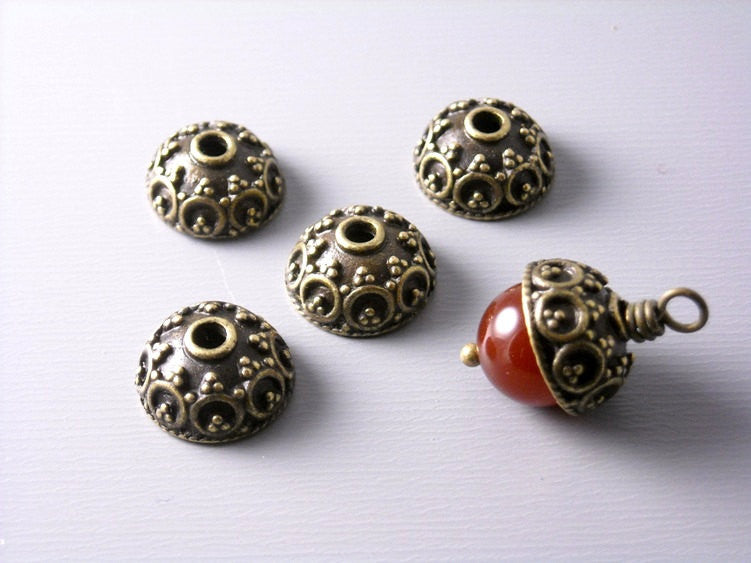 Antique Bronze Dome Bead Caps (10mm) - 20 pcs - Pim's Jewelry Supplies