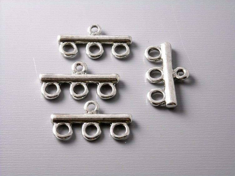 Antique Silver Multi Strand Connector Bar - 6 bars - Pim's Jewelry Supplies