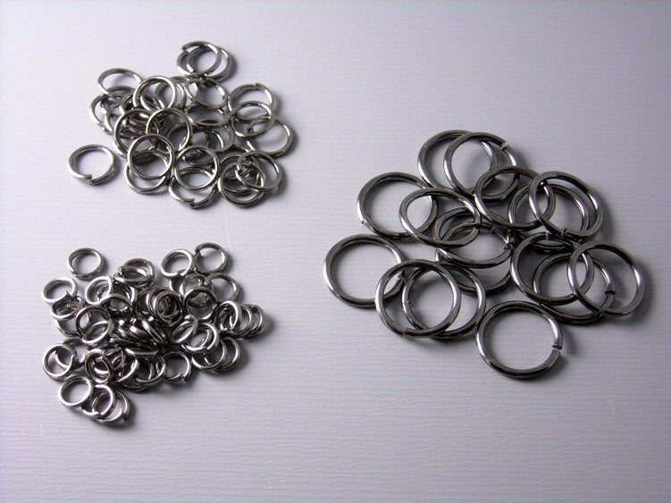 100 MIXED Gunmetal Open Jump Rings - 4mm, 6mm & 10mm