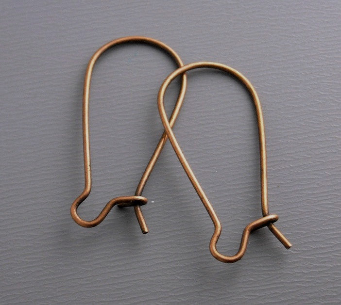 50 pcs of 28mm Antique Copper Kidney Hoop Earring Findings