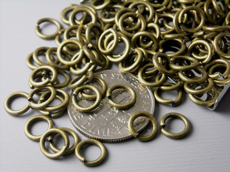 22 gauge 5mm Antique Bronze Oval Open Jump Rings - 50 pcs