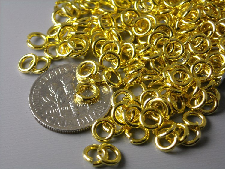 Gold Plated Open Jump Rings, 20 gauge 5mm  - 50 pcs