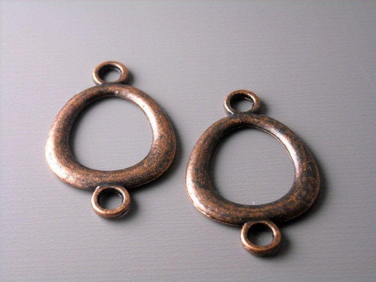 Antiqued Copper Oval Linking Charm - 6 pcs