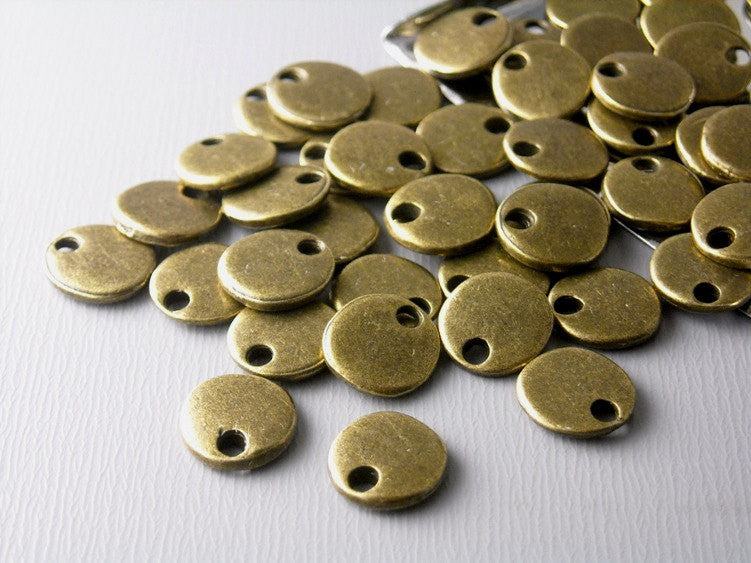 Antiqued Bronze Tiny Disc - 10 pcs