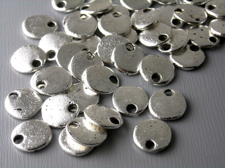 Antiqued Silver Plated Tiny Disc - 10 pcs