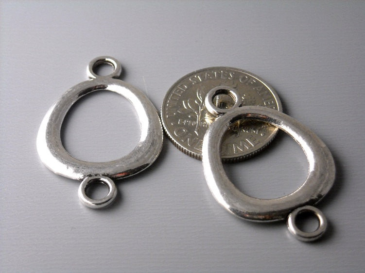 Antiqued Silver Plated Oval Linking Charm - 6 pcs - Pim's Jewelry Supplies