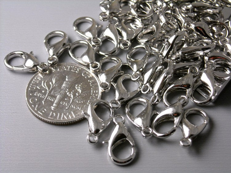 10 pcs Platinum Plated Lobster Clasps, 12mm x 6mm