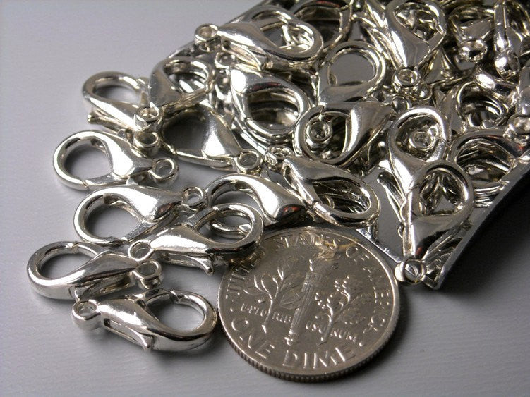 30 pcs Platinum Plated Lobster Clasps, 14mm x 8mm