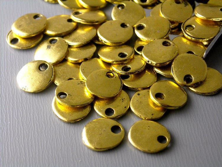 Antiqued Gold Plated Tiny Disc - 10 pcs