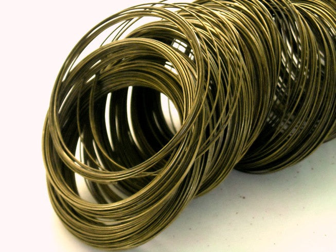 Antique Bronze MEMORY Wire, non-coated, 22 gauge, 50 Circles - Pim's Jewelry Supplies