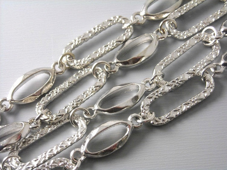 3-ft Handmade Large Link Antique Silver Chain - Pim's Jewelry Supplies