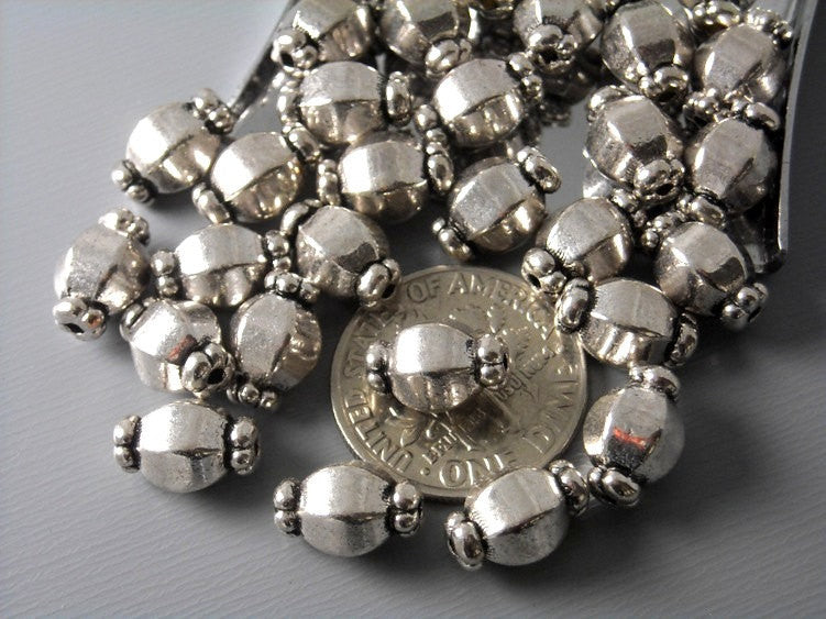 Antiqued Silver Octagon Shaped Bead Spacer - 10 pcs