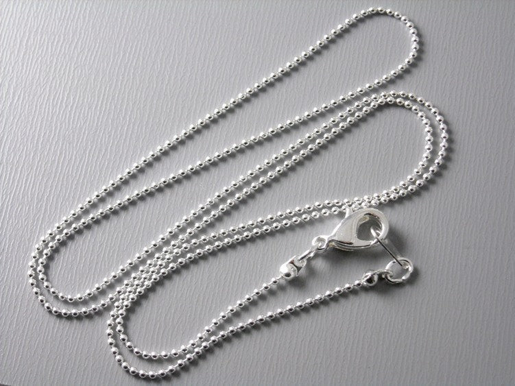 Premium Silver Plated Ball Chain, 1mm , 18 inch long, Finished Chain - 5 pcs
