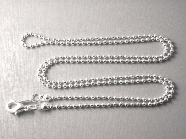 Silver Plated Ball Chain, 2mm , 24 inch long, Finished Chain - 5 pcs