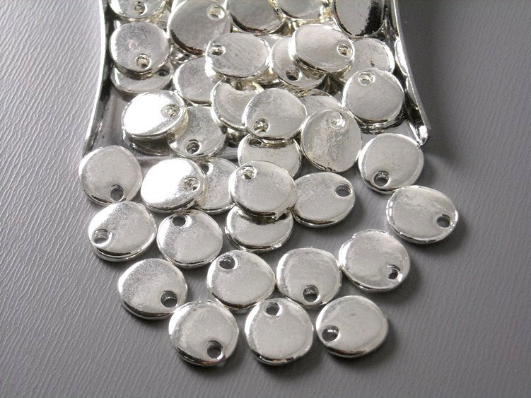 Bright Silver Plated Tiny Disc - 10 pcs