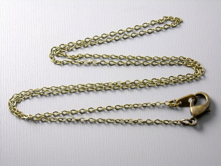 Necklace - Antiqued Brass - Flatten Links - 2mm x 1.5mm - Choose your length - Pim's Jewelry Supplies