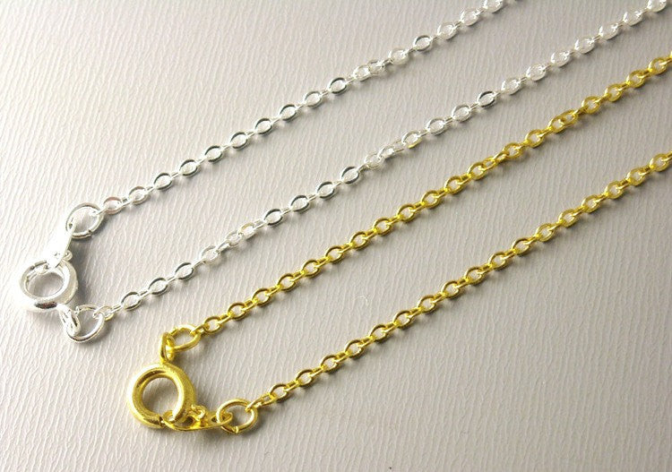 Necklace - Silver Plated - 2mm x 1.5mm 18 inches - 5 Necklaces - Pim's Jewelry Supplies