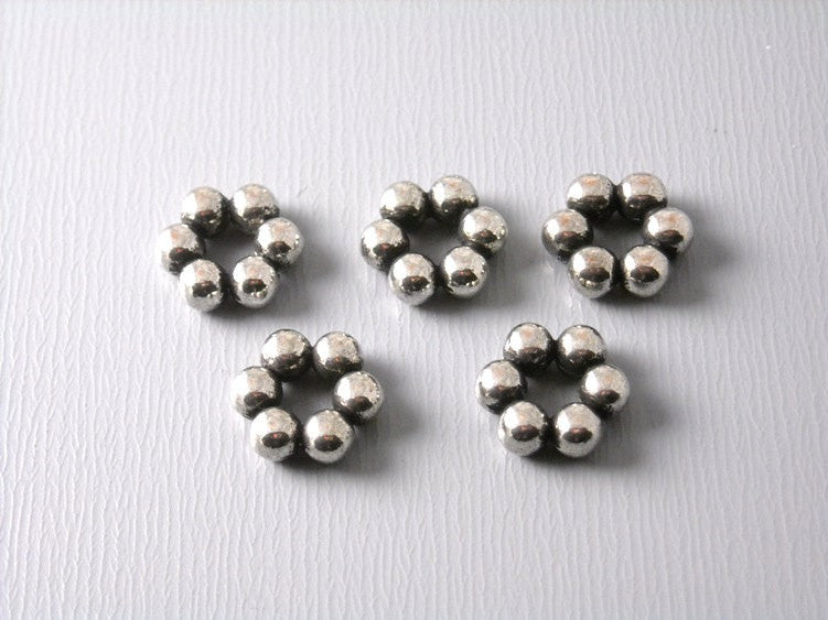 Antiqued Silver Flower Spacers, 8mm - 30 pcs