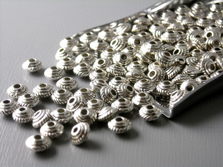 Spacer - Bi-cone - Antique Silver Plated & Textured - 5mm - 50 Beads