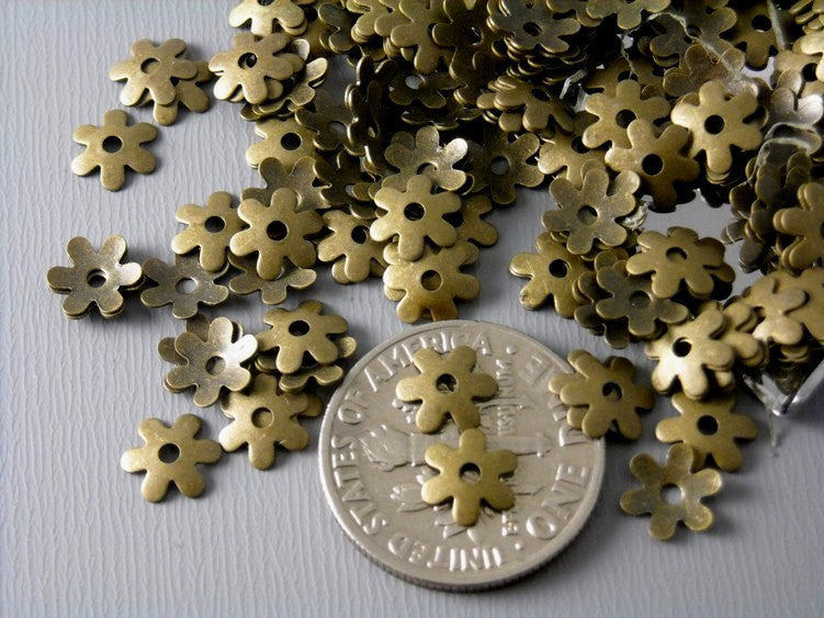 30 pcs of 6.5mm Antique Brass Bead Caps - Pim's Jewelry Supplies