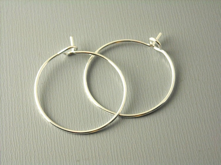 20mm Silver Plated Hoop Earrings - 20 pcs - Pim's Jewelry Supplies