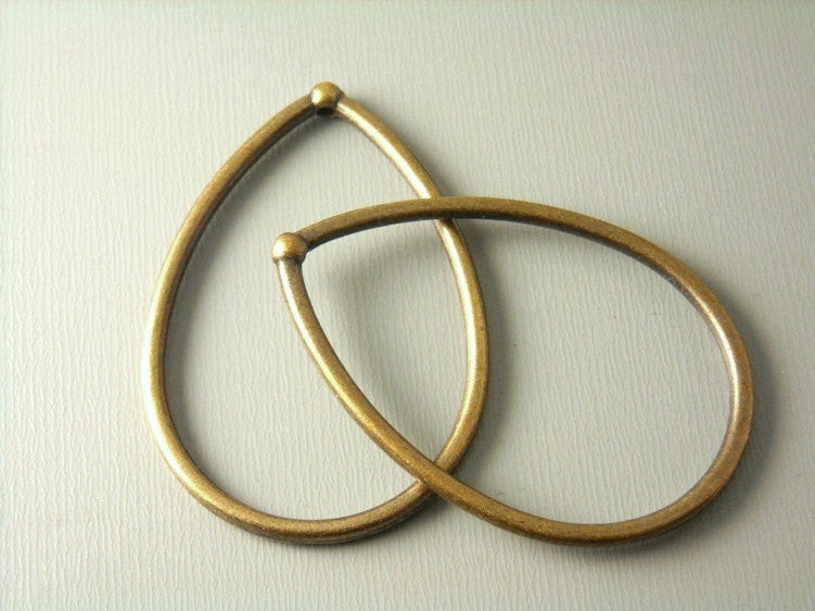 Antique Copper Large Drop Shaped Hoops - 4 pcs - Pim's Jewelry Supplies