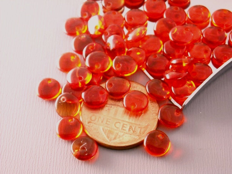 50 pcs Czech Glass Lentil Beads - Siam Red
