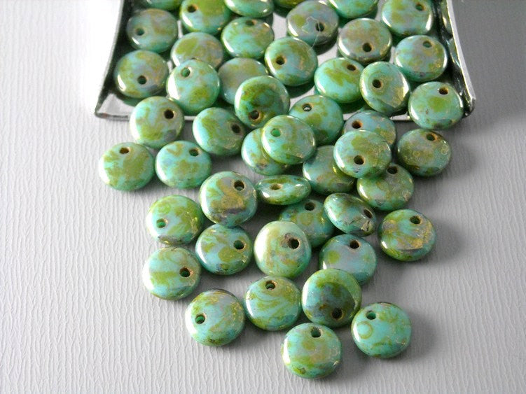 50 pcs Czech Glass Lentil Beads - Turquoise / Bronze Fusion - Pim's Jewelry Supplies