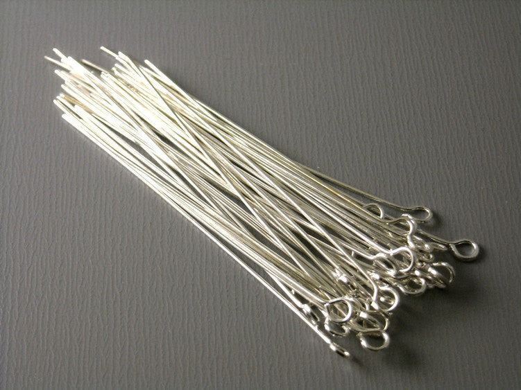 50 pcs of Silver Plated Brass Eyepins, 24 gauge, 45mm (1.75 inches)