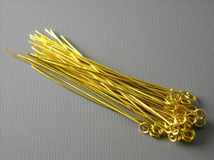 50 pcs Gold Plated Brass Eyepins, 24 guage 45mm (1.75 inches)