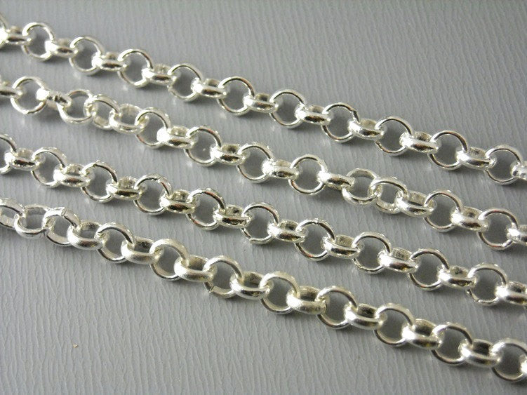 10-Feet Silver Plated Cable Chain, 4mm - Pim's Jewelry Supplies