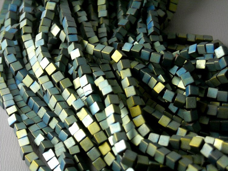 Bead - Hematite Cube Matte Antique Gold and Turquoise 4mm - full 16 inch strand - 130 beads - Pim's Jewelry Supplies