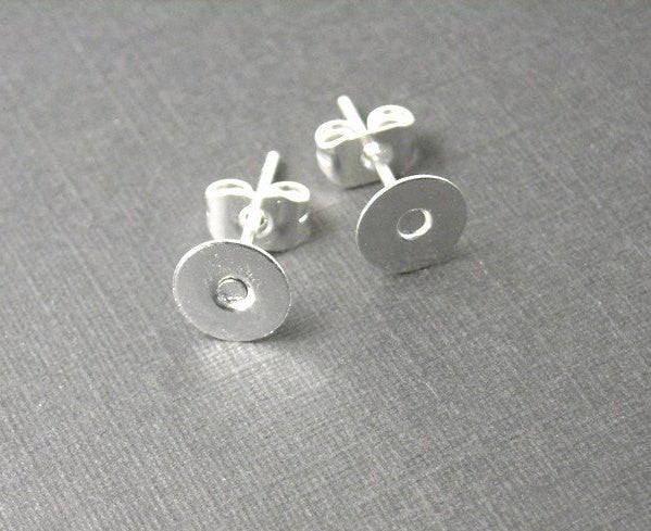 6mm Silver Plated Cabochon Setting Ear Stud / Post - 20 sets - Pim's Jewelry Supplies