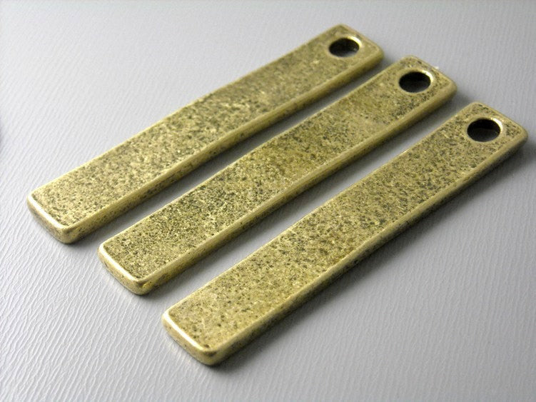 Contemporary Bar Charm, Extra Long, Antique Brass - 4 pcs