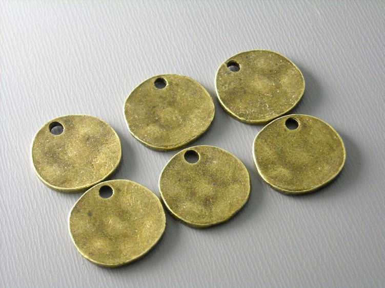 Charm - 14k Gold Plated - Round Tag & Textured - 10mm - 4 pcs