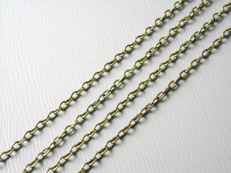 Chain - Antiqued Brass - Soldered Links - 2mm x 1.5mm - 10 feet - Pim's Jewelry Supplies