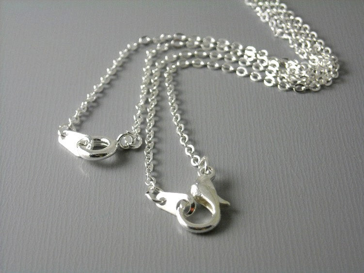 Finished Chain - Silver Plated - 2mm x 1.5mm -16 inches - 5 pcs