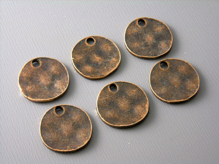 Silver Plated Oval Discs with antique finish - 10 pcs