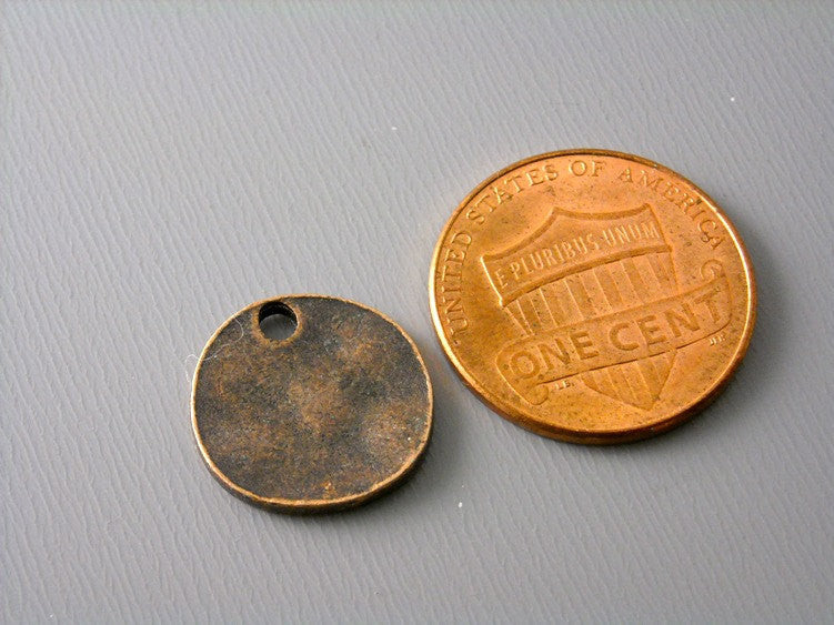 Antiqued Copper Textured Disc - 10 pcs
