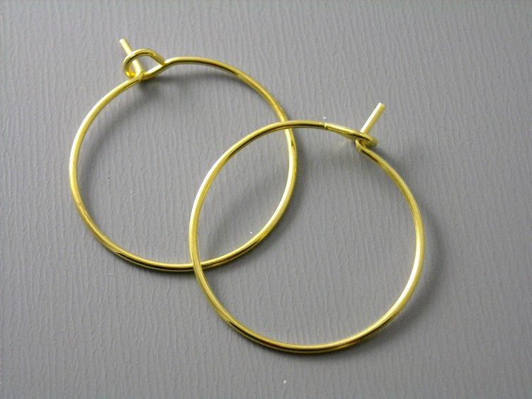 20mm 14k Gold Plated Hoop Earrings - 20 pcs