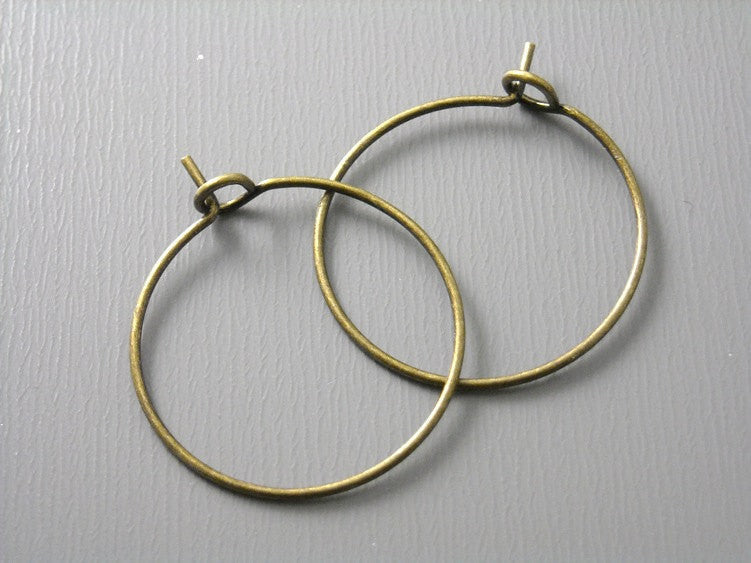 20mm Antique Bronze Plated Hoop Earrings - 20 pcs